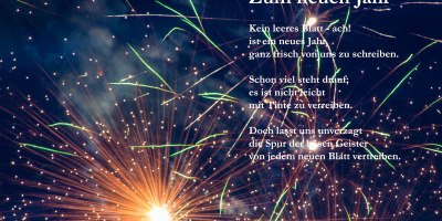 Feuerwerk mit Gedicht
