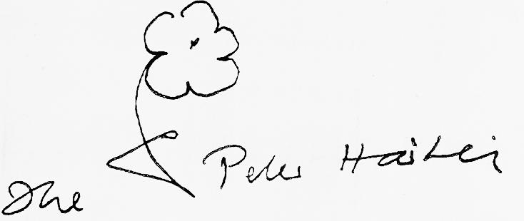 Unterschrift mit Zeichnung von Peter Härtling